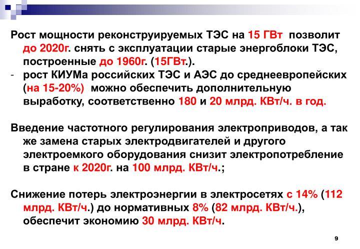 Рост мощности реконструируемых ТЭС на