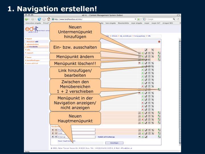 1. Navigation erstellen!