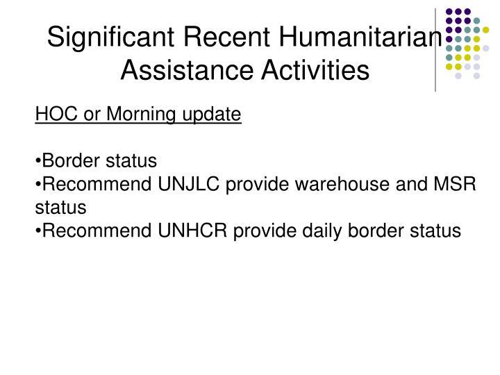Significant Recent Humanitarian