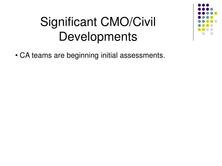 Significant CMO/Civil Developments