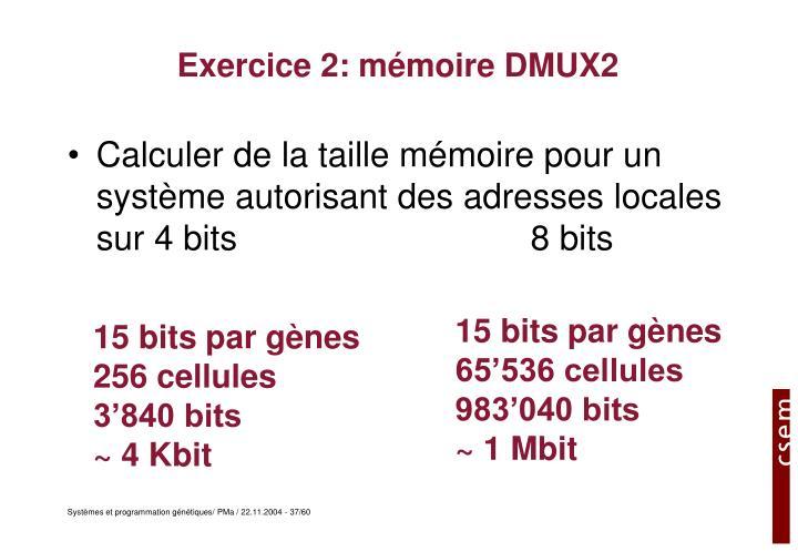 Exercice 2: mémoire DMUX2