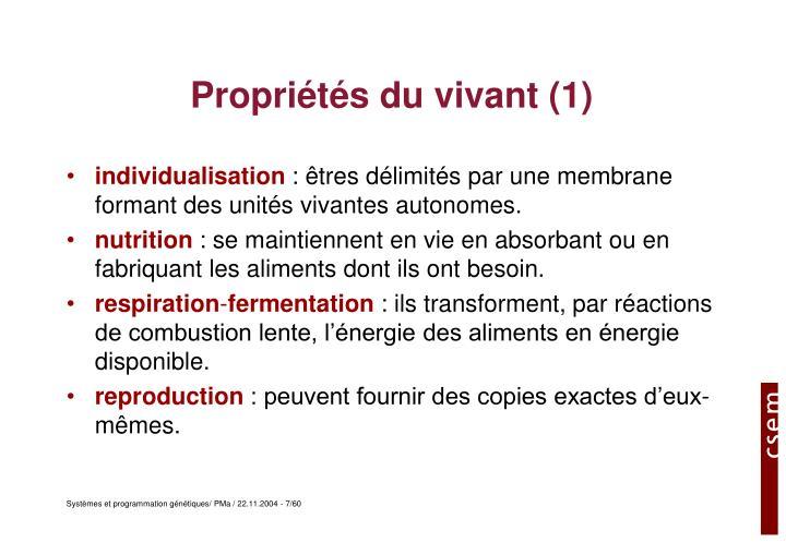 Propriétés du vivant (1)