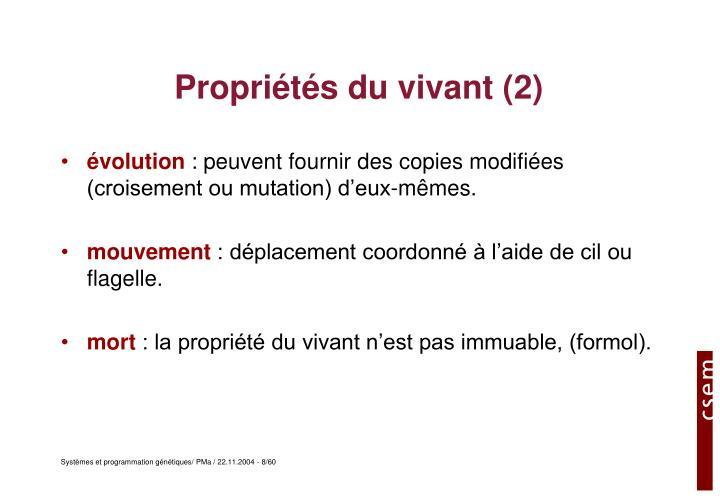 Propriétés du vivant (2)