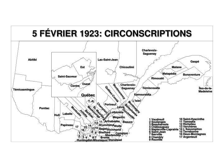 5 FÉVRIER 1923: CIRCONSCRIPTIONS