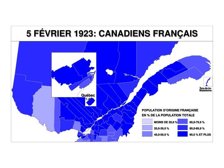 5 FÉVRIER 1923: CANADIENS FRANÇAIS