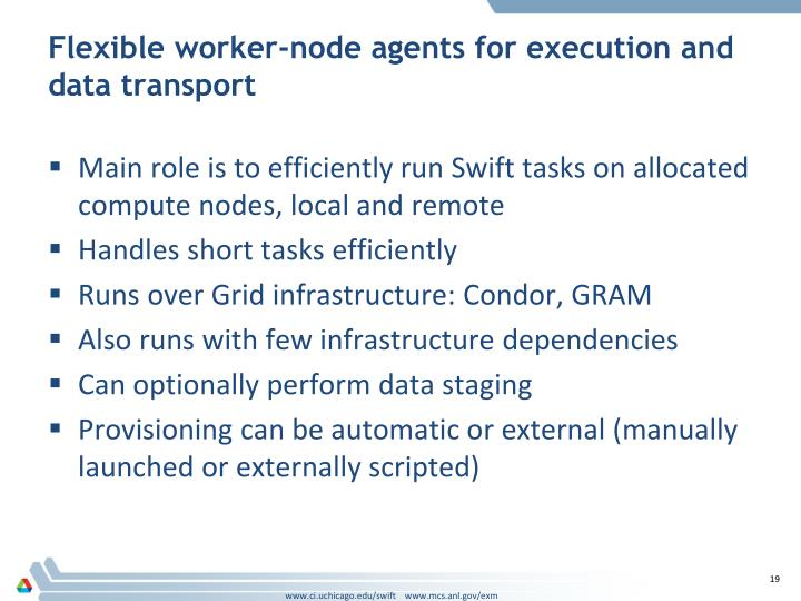 Flexible worker-node agents for execution and data transport
