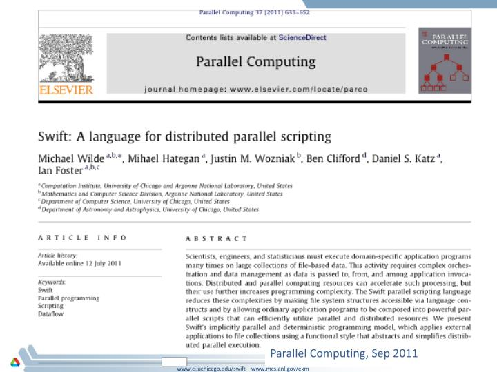 Parallel Computing, Sep 2011