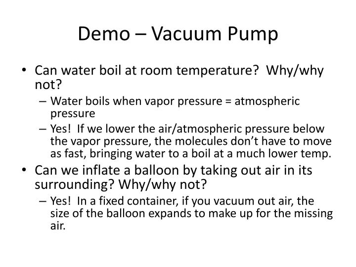 Demo vacuum pump