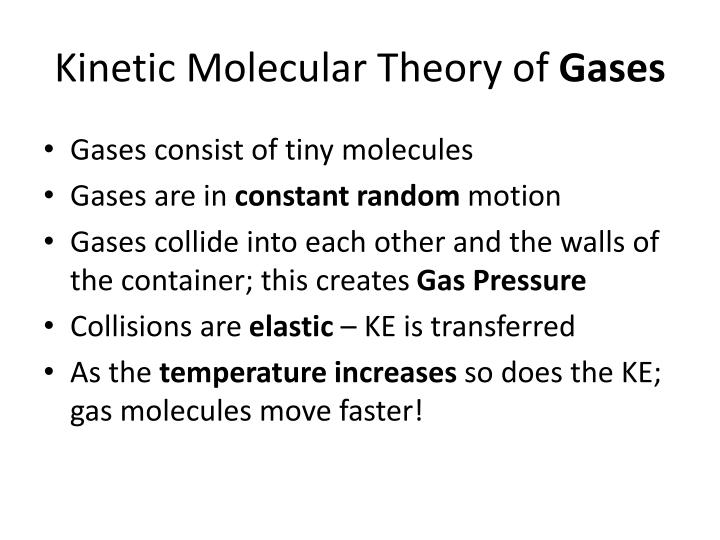 Kinetic Molecular Theory of