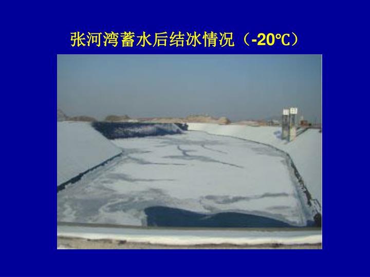 张河湾蓄水后结冰情况(