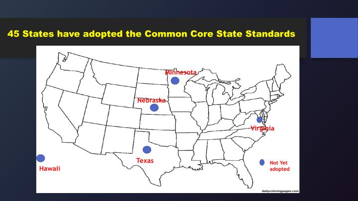 45 States have adopted the Common Core State Standards