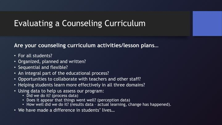 Evaluating a Counseling Curriculum