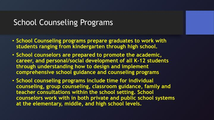 School Counseling Programs