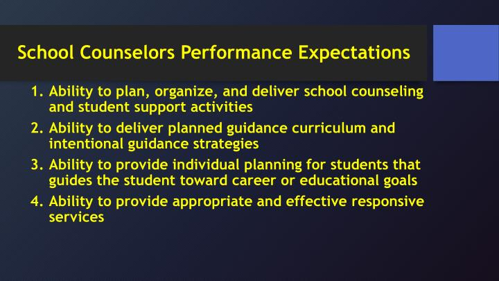 School Counselors Performance Expectations