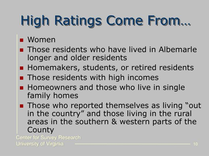 High Ratings Come From…
