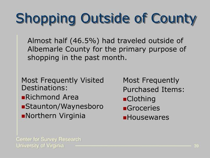 Shopping Outside of County