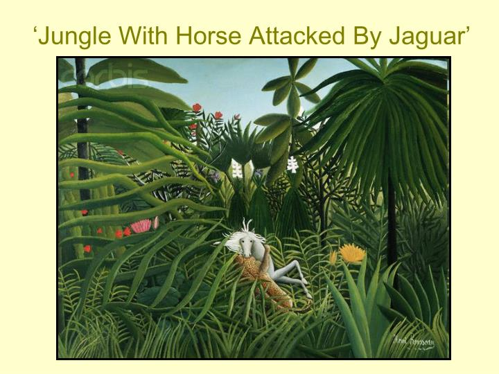 'Jungle With Horse Attacked By Jaguar'