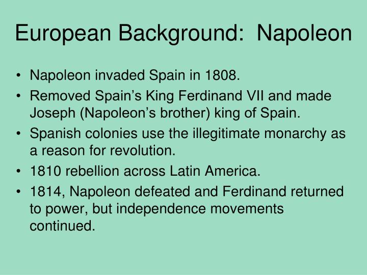 European Background:  Napoleon