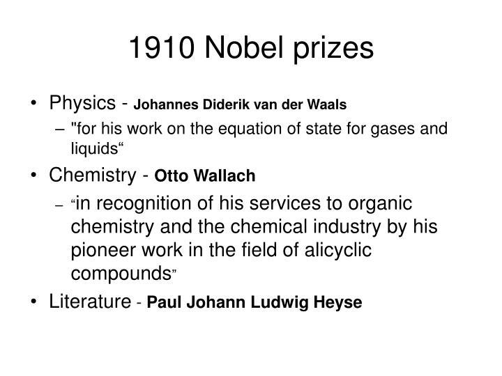 1910 Nobel prizes