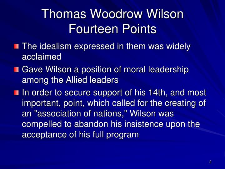 Thomas woodrow wilson fourteen points
