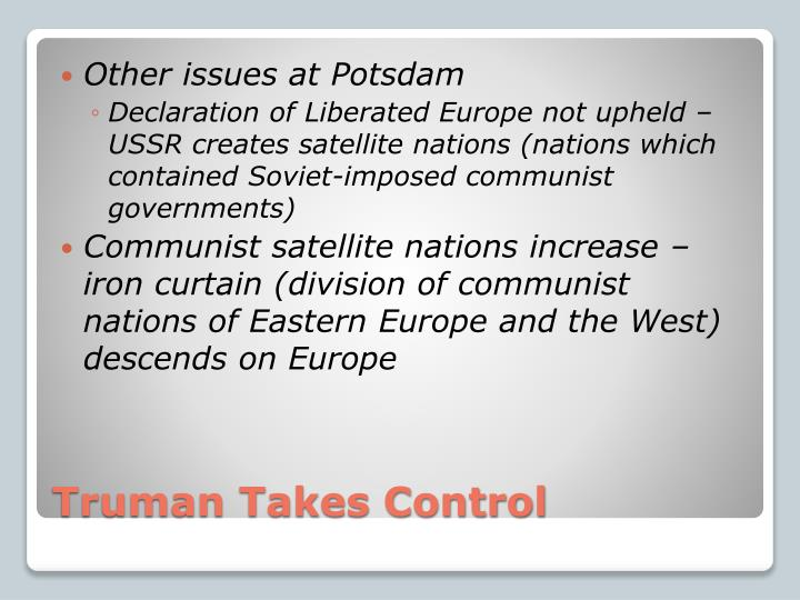 Other issues at Potsdam