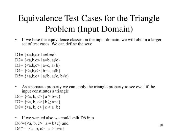 Equivalence Test Cases for the Triangle Problem (Input Domain)