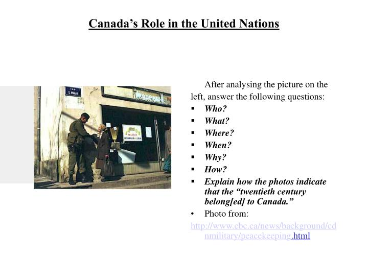 Canada s role in the united nations