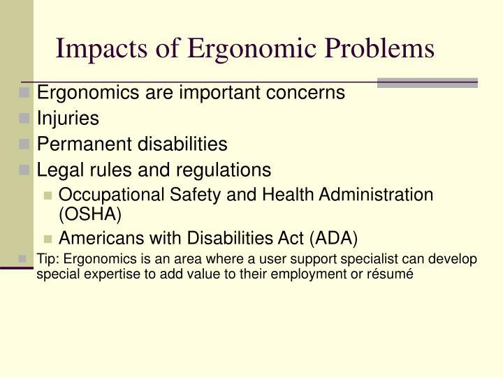 Impacts of Ergonomic Problems