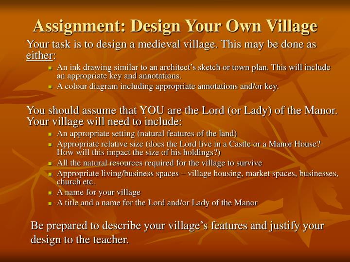Assignment: Design Your Own Village