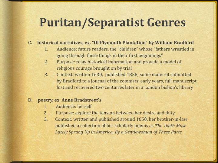 Puritan/Separatist Genres