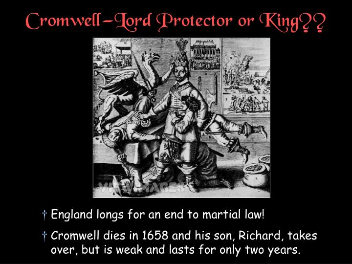 Cromwell—Lord Protector or King??