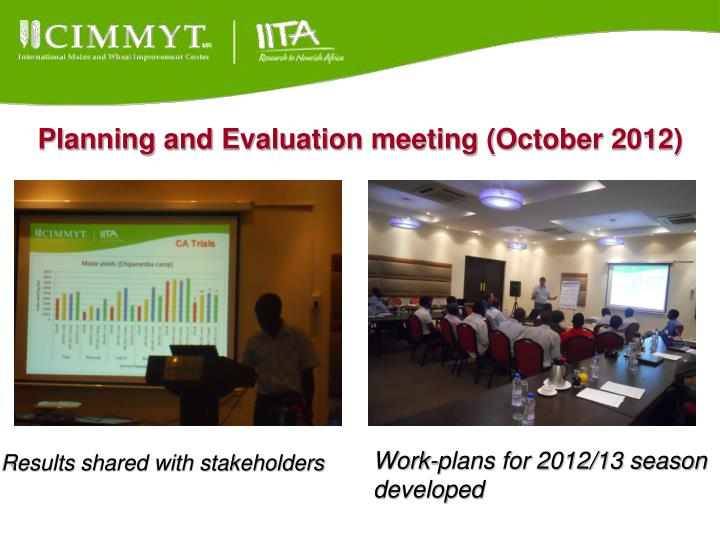 Planning and Evaluation meeting (October 2012)
