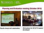 planning and evaluation meeting october 2012