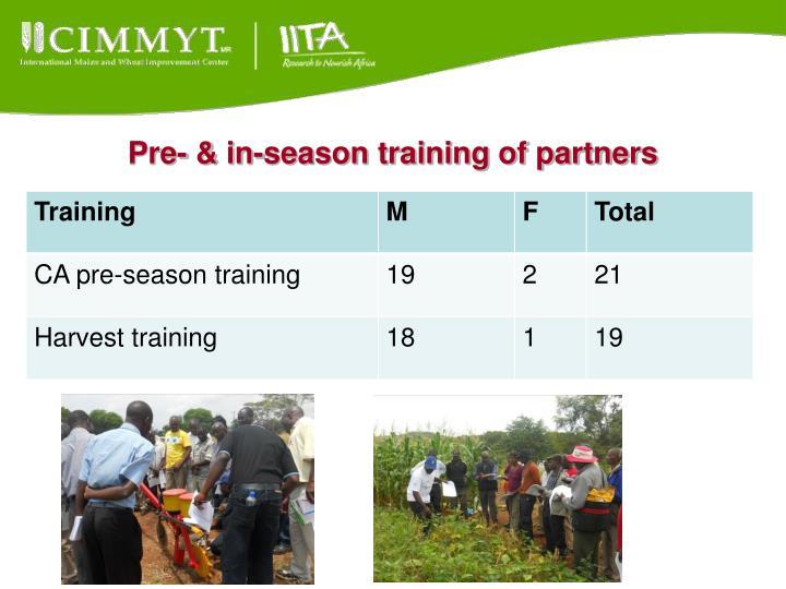 Pre- & in-season training of partners