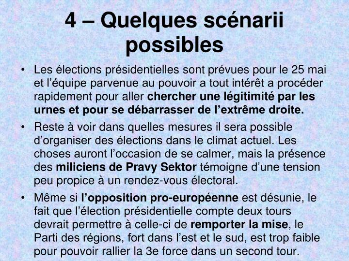4  Quelques scnarii possibles