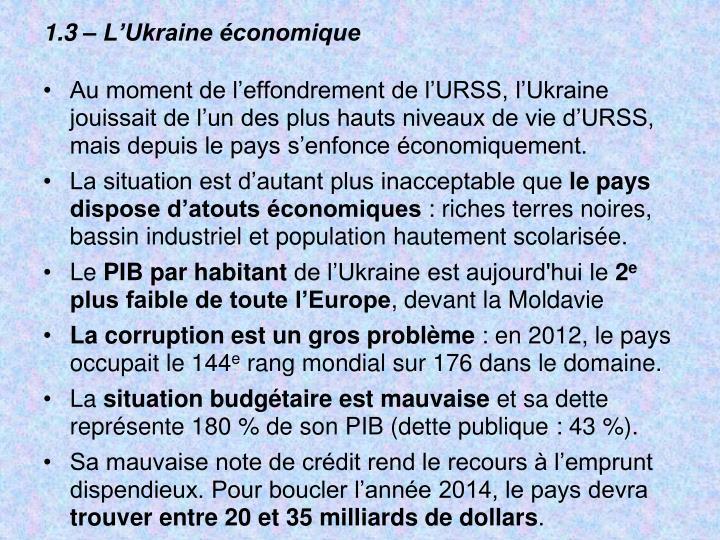 1.3 – L'Ukraine économique