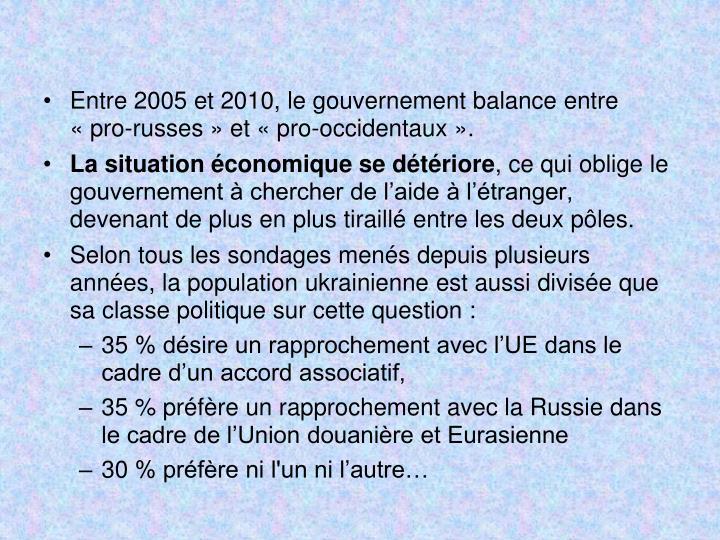 Entre 2005 et 2010, le gouvernement balance entre «pro-russes» et «pro-occidentaux».