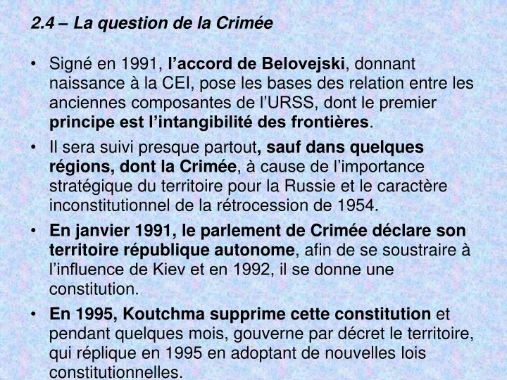 2.4  La question de la Crime