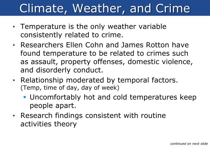 Climate, Weather, and Crime