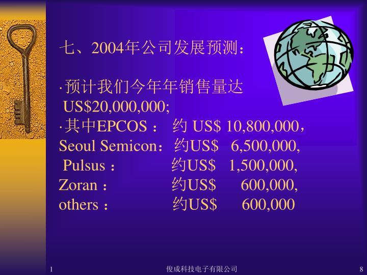 七、2004年公司发展预测: