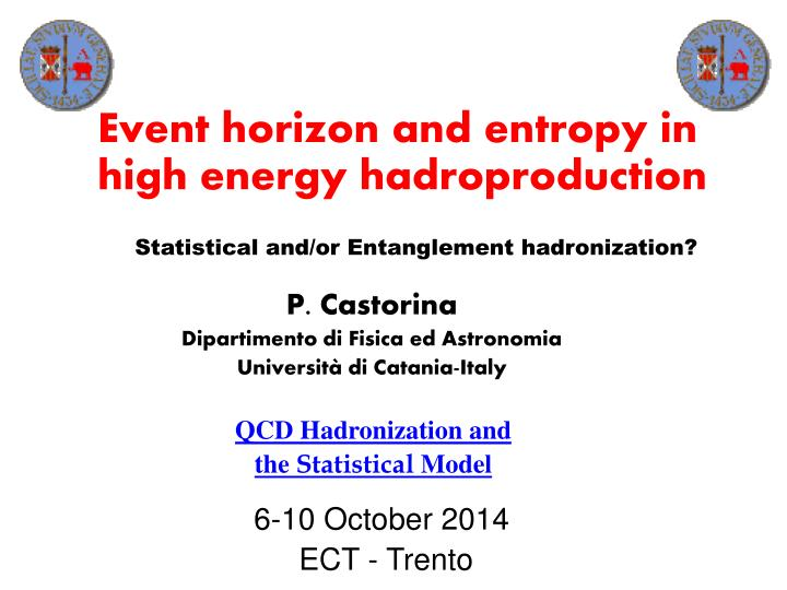 Event horizon and entropy in high energy hadroproduction