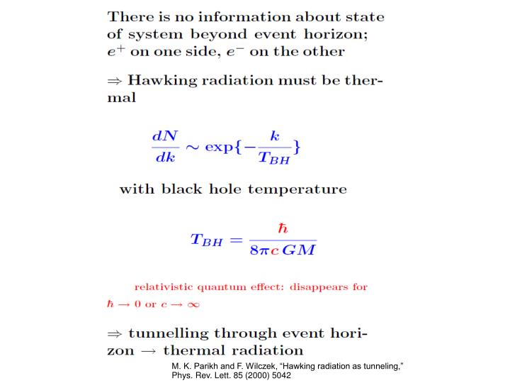 "M. K. Parikh and F. Wilczek, ""Hawking radiation as tunneling,"" Phys. Rev. Lett. 85 (2000) 5042"