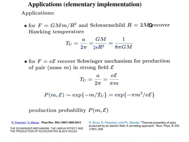 Applications (elementary implementation)