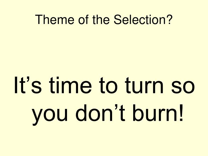 Theme of the Selection?
