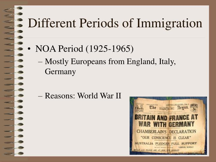 Different Periods of Immigration