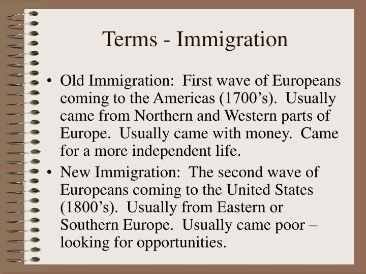 Terms - Immigration