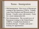 terms immigration