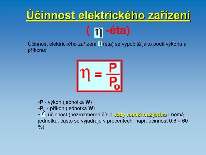 Účinnost elektrického zařízení