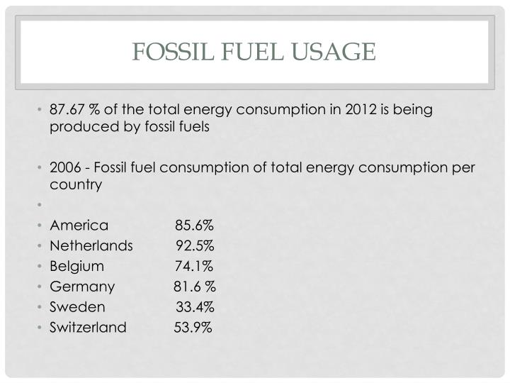 87.67 % of the total energy consumption in 2012 is being produced by fossil fuels