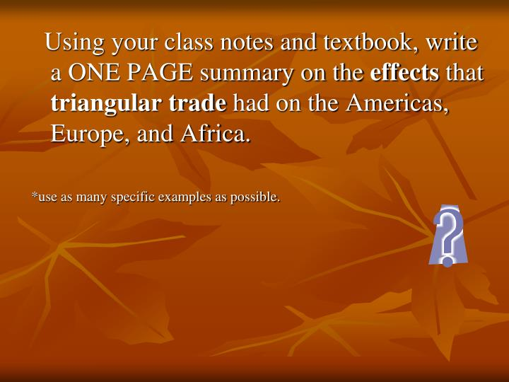 Using your class notes and textbook, write a ONE PAGE summary on the